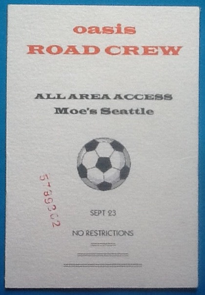 Oasis Original Backstage Concert Pass Ticket Seattle 1994