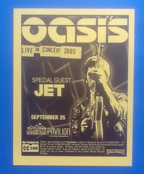 Oasis Original Concert Handbill- Flyer Houston 2005