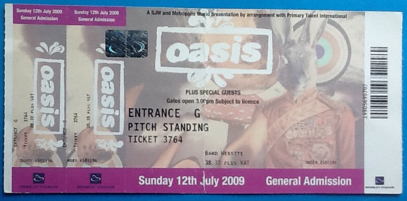 Oasis Original Unused Concert Ticket Wembley Stadium London 12 July 2009