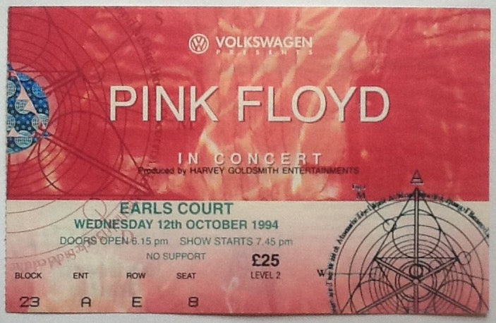 Pink Floyd Original Used Concert Ticket Earls Court London 1994