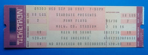 Pink Floyd Unused Concert Ticket Mikwaukee 30th Sept 1987