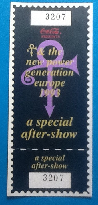 Prince Original Unused Numbered After Show Ticket Pass 1993