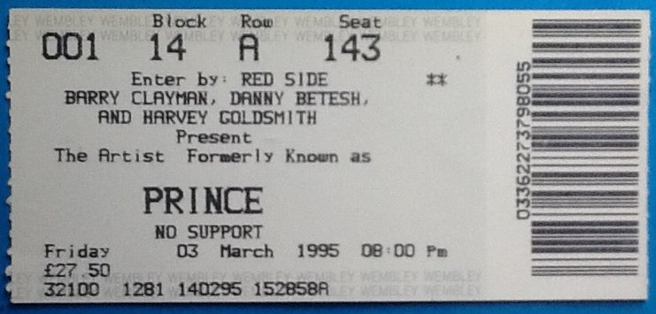 Prince Original Used Concert Ticket Wembley London 3 March 1995