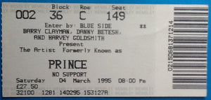 Prince Original Used Concert Ticket Wembley London 4 March 1995