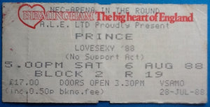 Prince Original Used Concert Ticket NEC Birmingham 6 August 1988
