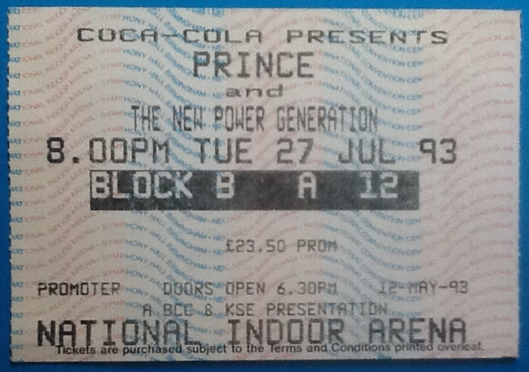 Prince Original Used Concert Ticket Birmingham 1993