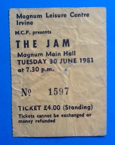 Jam Original Concert Ticket Irvine 1981
