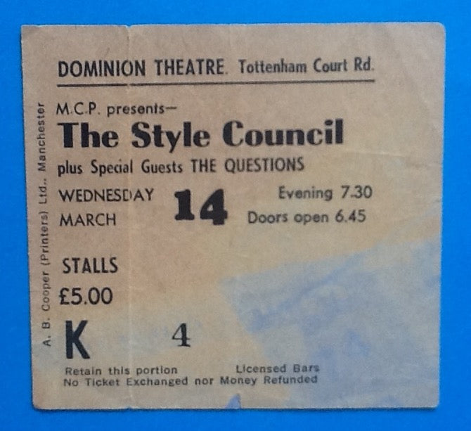 Style Council Used Concert Ticket London 1984