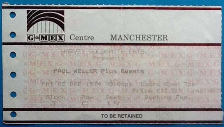 Paul Weller Original Used Concert Ticket Manchester 1994