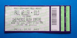 Paul Weller Original Unused Concert Ticket Shepherds Bush Empire London 2nd Jul 2001