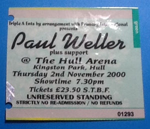 Paul Weller Ticket Hull 2000