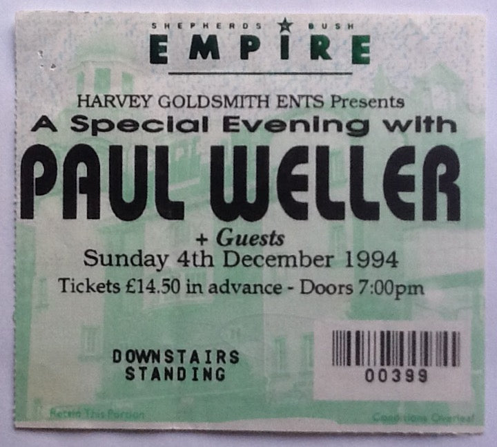 Paul Weller Original Used Concert Ticket Shepherds Bush Empire London 1994