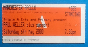 Paul Weller Original Used Concert Ticket Apollo Theatre Manchester 6th May 2000