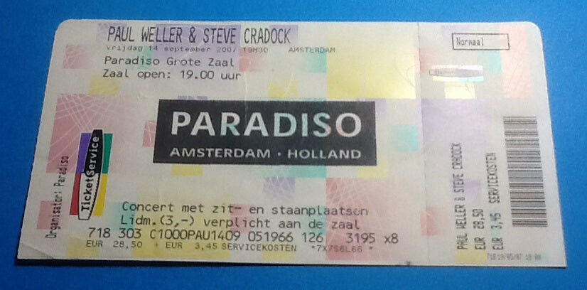 Paul Weller Unused Ticket Amsterdam 2007