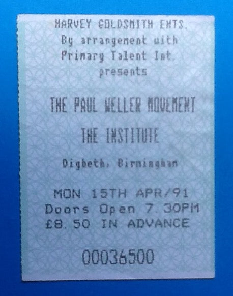Paul Weller Used Concert Ticket Birmingham 1991