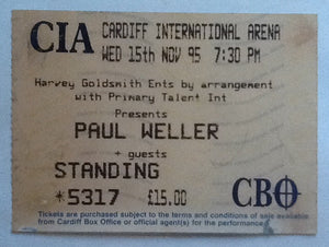 Paul Weller Concert Ticket Cardiff 1995