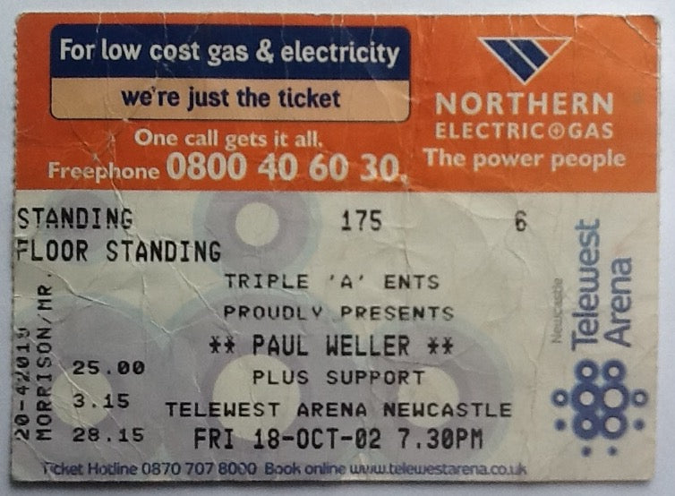 Paul Weller Original Used Concert Ticket Newcastle 2002