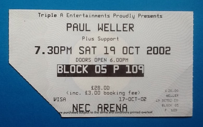 Paul Weller Original Used Concert Ticket NEC Arena Birmingham 19th Oct 2002
