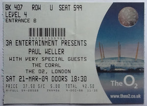 Paul Weller The Coral Original Used Concert Ticket O2 London 2009