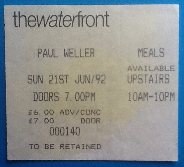 Paul Weller Original Used Concert Ticket Norwich 1992