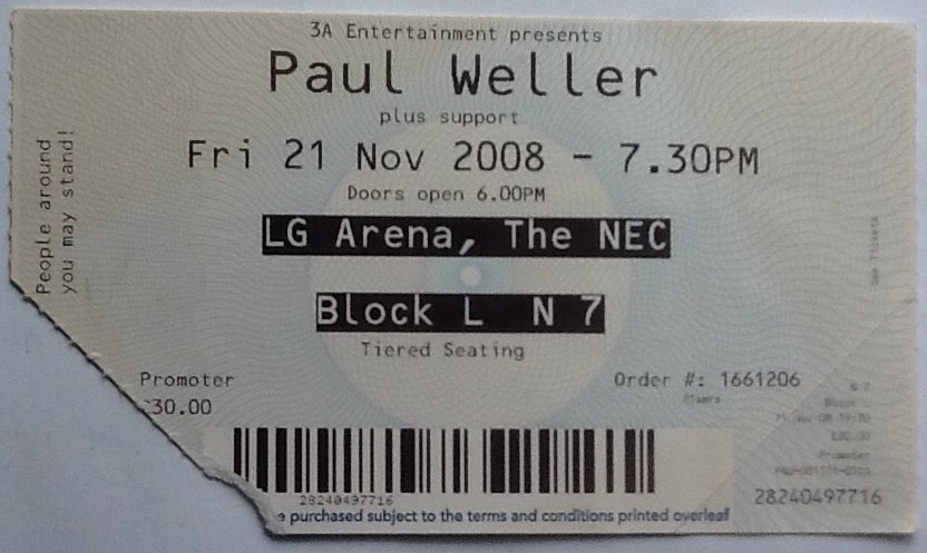 Paul Weller Original Used Concert Ticket NEC Birmingham 21st Nov 2008