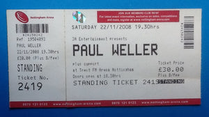 Paul Weller Unused Concert Ticket Nottingham 2008