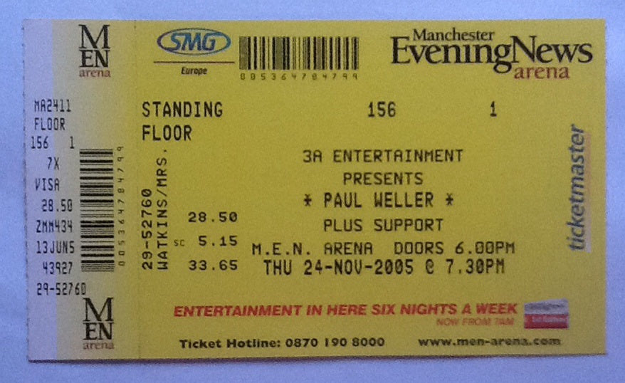 Paul Weller Complete Concert Ticket Manchester 2005