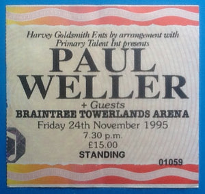 Paul Weller Original Used Concert Ticket Braintree 1995