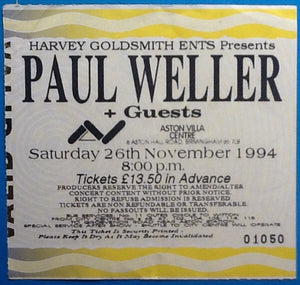 Paul Weller Original Used Concert Ticket Birmingham 1994