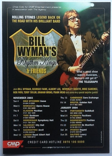 Bill Wyman's Rhythm Kings Original Concert Handbill Flyer UK Tour 2003