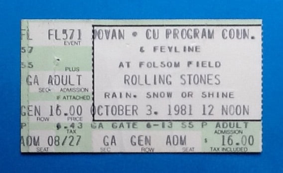 Rolling Stones Original Used Concert Ticket Colorado 1981