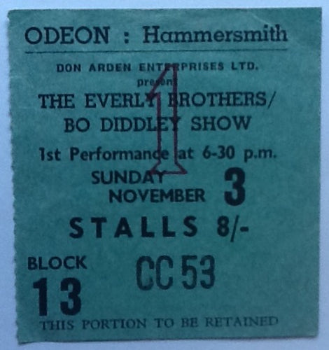 Rolling Stones Original Early Concert Ticket Hammersmith Odeon London 1963