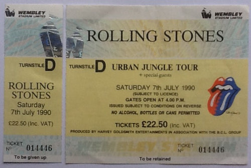 Rolling Stones Original Unused Complete Concert Ticket Wembley Stadium London 7th July 1990