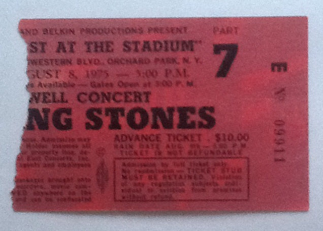 Rolling Stones Concert Ticket New York 1975