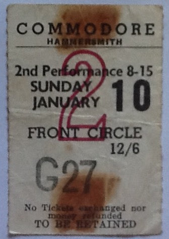 Rolling Stones Original Used Concert Ticket Commodore Theatre London 1965