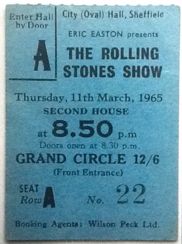 Rolling Stones Original Used Blue Concert Ticket City Hall Sheffield 1965