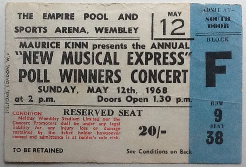 Rolling Stones Original Used Concert Ticket Wembley Arena  London 1968