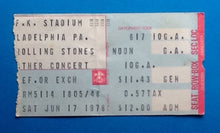 Load image into Gallery viewer, Rolling Stones Original Used Concert Ticket Philadelphia 1978