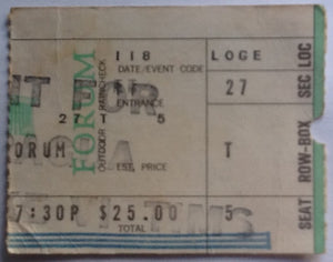Rolling Stones Original Concert Ticket Benefit for Nicaragua Forum Los Angeles 1973