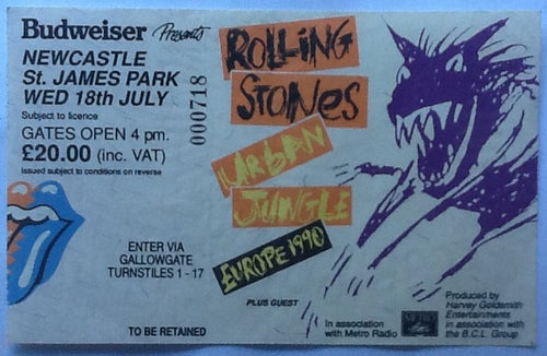 Rolling Stones Original Used Concert Ticket St. James Park Newcastle 1990