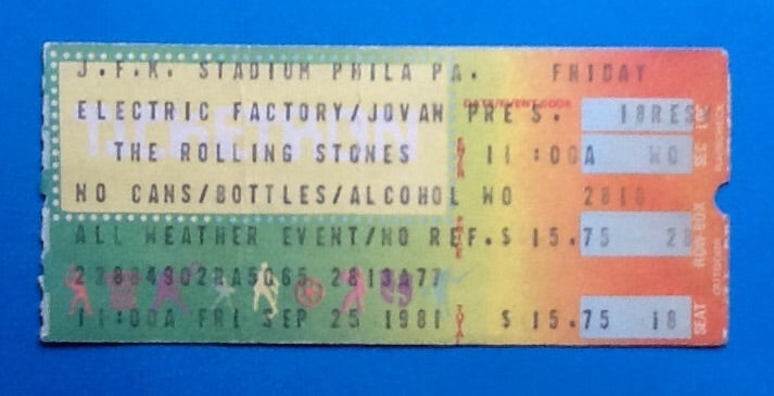Rolling Stones Original Used Concert Ticket Philadelphia 1981