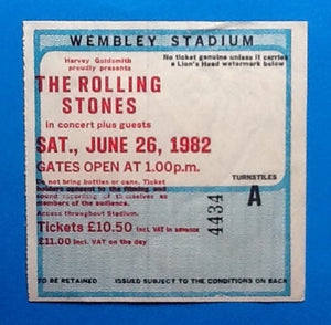 Rolling Stones Original  Used Concert Ticket London 1982