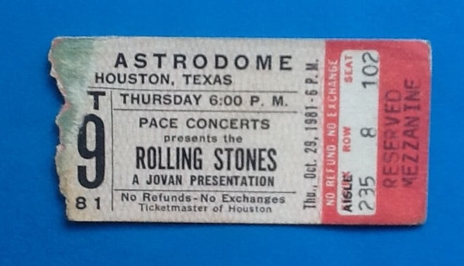 Rolling Stones Original Concert Ticket Houston 1981