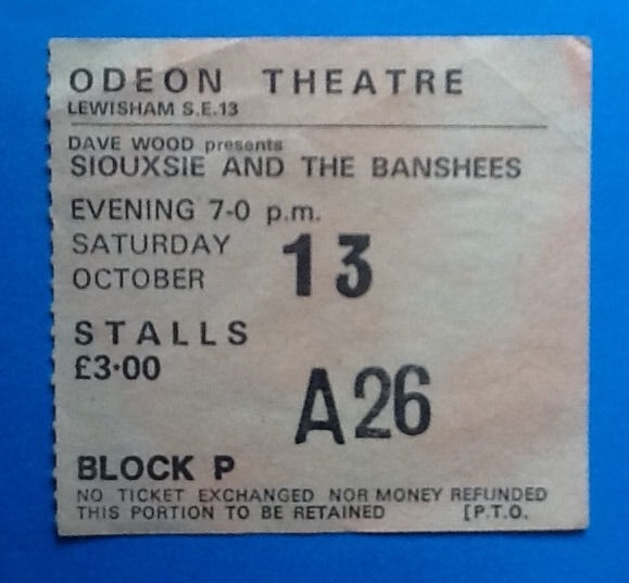Siouxsie & The Banshees Original Concert Ticket Lewisham 1979