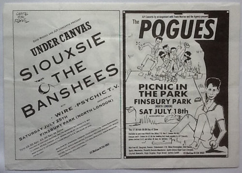 Siouxsie & The Banshees The Pogues Beach Boys Original Concert Handbill Flyer Finsbury Park London 1987