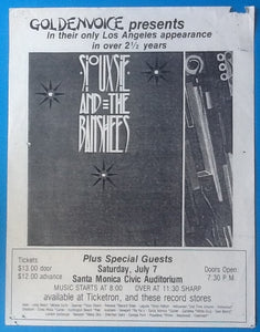 Siouxsie & the Banshees Handbill Flyer Santa Monica 1984