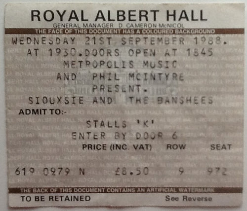 Siouxsie and the Banshees Original Used Concert Ticket Royal Albert Hall London 1988