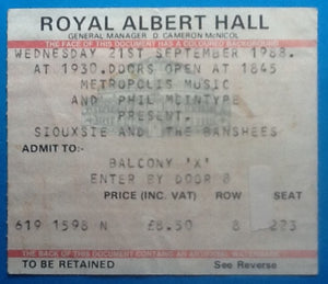 Siouxsie & the Banshees Original Used Concert Ticket London 1988