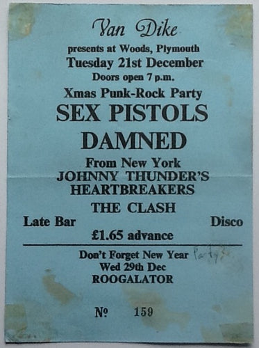 Sex Pistols Clash Original Large Concert Ticket Woods Plymouth 1976