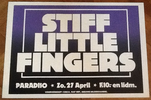 Stiff Little Fingers Original Concert Tour Gig Poster Paradiso Club Amsterdam 1980